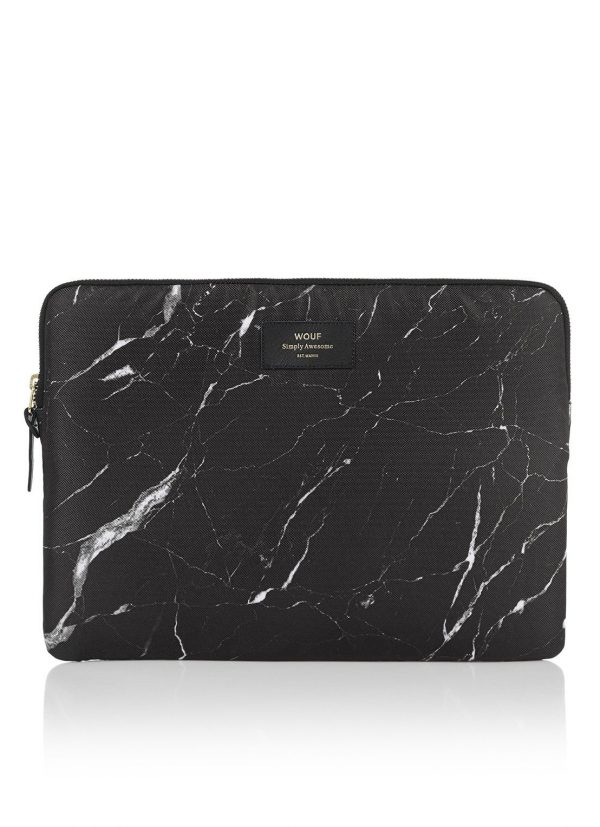 Wouf Black Marble laptophoes met dessin 13 inch
