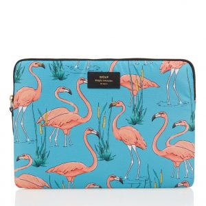 Wouf Pink Flamingos laptophoes met dessin 13 inch